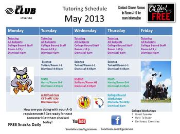 Tutoring Schedule